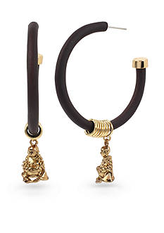 Betsey Johnson Gold-Tone Buddha Charm Wood Hoop Earrings