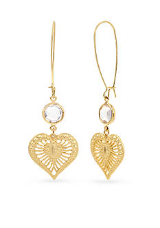 Betsey Johnson Gold-Tone Faceted Stone & Filigree Heart Long Drop Earrings