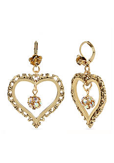 Betsey Johnson Crystal Fireball Heart Orbital Drop Earrings