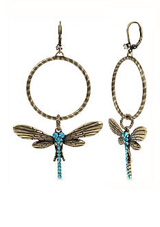 Betsey Johnson Gold-Tone Pave Dragonfly Gypsy Hoop Earrings
