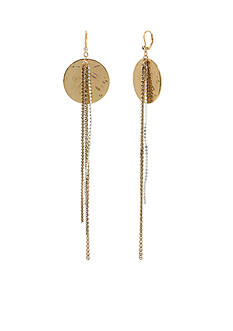 Betsey Johnson Two-Tone Large Disc Multi Chain Drop Earrings