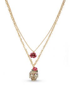Betsey Johnson Gold-Tone Skull and Rose Duo Pendant Necklace
