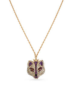 Betsey Johnson Gold-Tone Crystal Fox Pendant Necklace