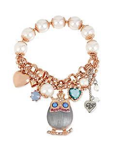 Betsey Johnson Rose Gold-Tone Owl Charm Stretch Bracelet