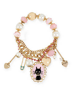 Betsey Johnson Gold-Tone Cat Charm Stretch Bracelet