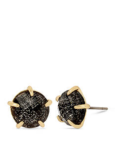 Betsey Johnson Black Patina Faceted Stone Stud Earring