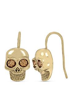 Betsey Johnson Gold-Tone Skull Drop Earring