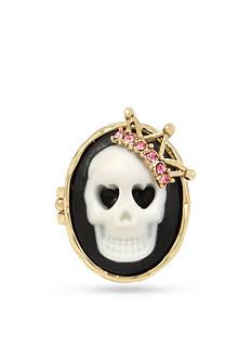 Betsey Johnson Gold-Tone Cameo Skull Ring