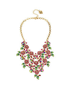 Betsey Johnson Pave Rose & Faceted Stone Bib Necklace