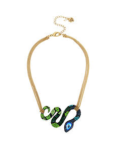 Betsey Johnson Multicolor Pave Snake Wrap Frontal Necklace