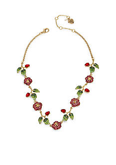 Betsey Johnson Gold-Tone Pave Rose Collar Necklace