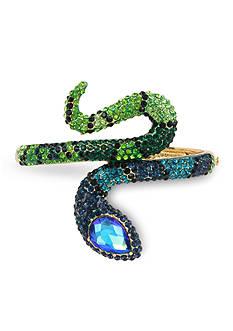 Betsey Johnson Pave Snake Wrap Hinged Bangle Bracelet