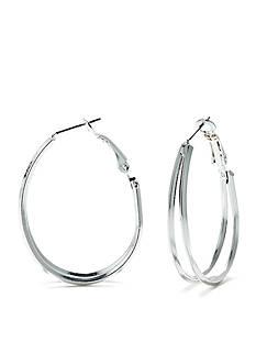 New Directions Metal Oval Double Hoop Pierced Earrings