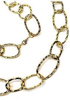 New Directions Gold Hammered Oval Link Necklace