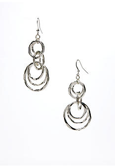 New Directions Silver Hammered Multiple Circle Drop Earring