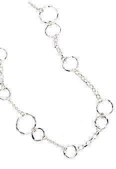 New Directions® Silver Hammered Link Station Necklace