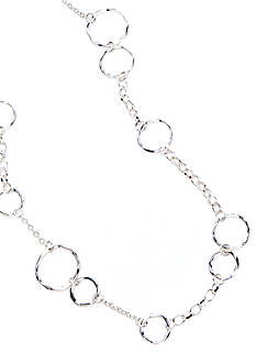 New Directions Silver-Tone Hammered Link Station Necklace