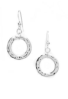 New Directions Silver Hammered Single Hoop Drop Earring