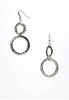 New Directions Silver Hammered Double Link Drop Earring