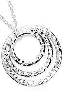New Directions® Silver Hammered Triple Circle Pendant