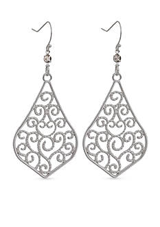 New Directions Silver-Tone Filigree Teardrop Earrings