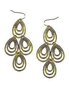 New Directions Gold Textured Chandelier Earrings