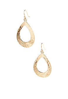 New Directions Hammered Open Tear Hoop Earring