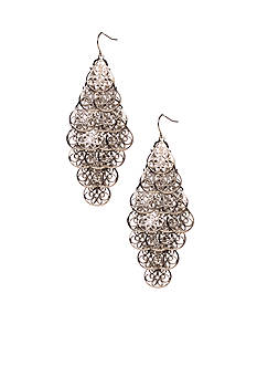 New Directions Shiny Silver-tone Textured Chandelier Earrings