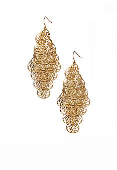 New Directions Worn Gold Textured Chandelier Earrings