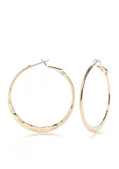 New Directions Gold-Tone Medium Hammered Hoop Earrings