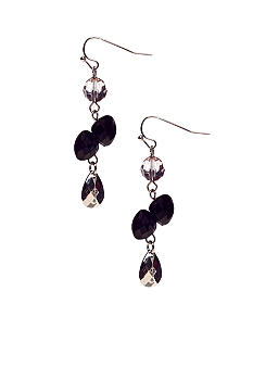 New Directions Black Multi and Silvertone Faceted Bead Linear Earrings