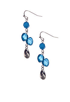 New Directions Blue Multi and Silvertone Faceted Bead Linear Earrings
