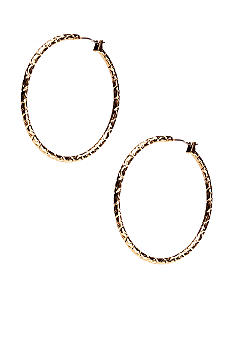 New Directions Gold Textured Diamond Cut Hoop Earrings