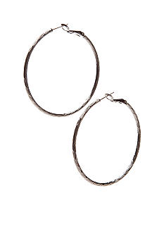 New Directions Hematite Textured Hoops
