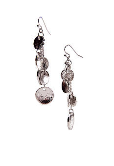 New Directions Textured Disc Linear Earrings