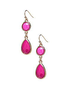 New Directions Pink Faceted Stone Drop Earrings