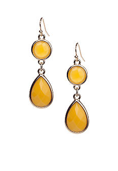 New Directions Yellow Faceted Stone Drop Earrings