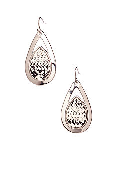 New Directions Black/White Snakeskin Teardrop Earrings