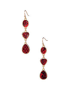 New Directions Red Snakeskin Linear Earrings
