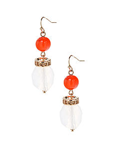 New Directions Coral and White Double Drop Pave Earrings