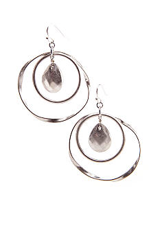New Directions Double Hoop with Bead Drop Earrings