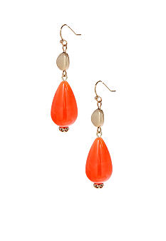 New Directions® Coral and Gold Tone Double Drop Earrings