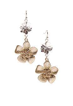 New Directions Two Tone Metal Flower Drop Earrings