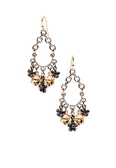 New Directions Metal Flower and Chain Chandelier Earrings