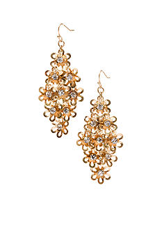 New Directions Metal Flower and Crystal Chandelier Earrings