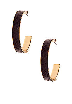 New Directions Black Snakeskin Hoop Earrings