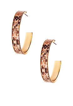 New Directions® Natural Snakeskin Hoop Earrings
