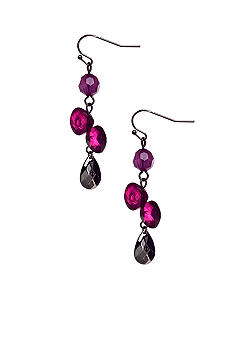 New Directions Purple Multi and Hematite Faceted Bead Linear Earrings
