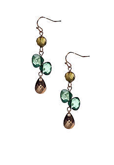 New Directions Green Multi and Goldtone Faceted Bead Linear Earrings