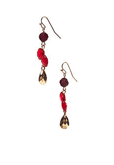 New Directions Red Multi and Goldtone Faceted Bead Linear Earrings